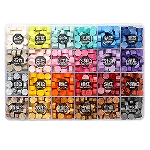LISRUILY - Kit de juntas de cera para sellar partculas de cera, pintura al fuego, disfraz retro para fundir, envoltorio de sello de cera herramienta de bricolaje 200 unidades con caja