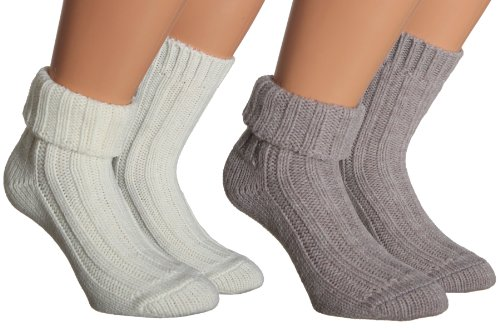 Vitasox Damen Socken Wolle Alpaka Wollsocken mit Umschlag eingarbig, Sortierung 1, 35/38