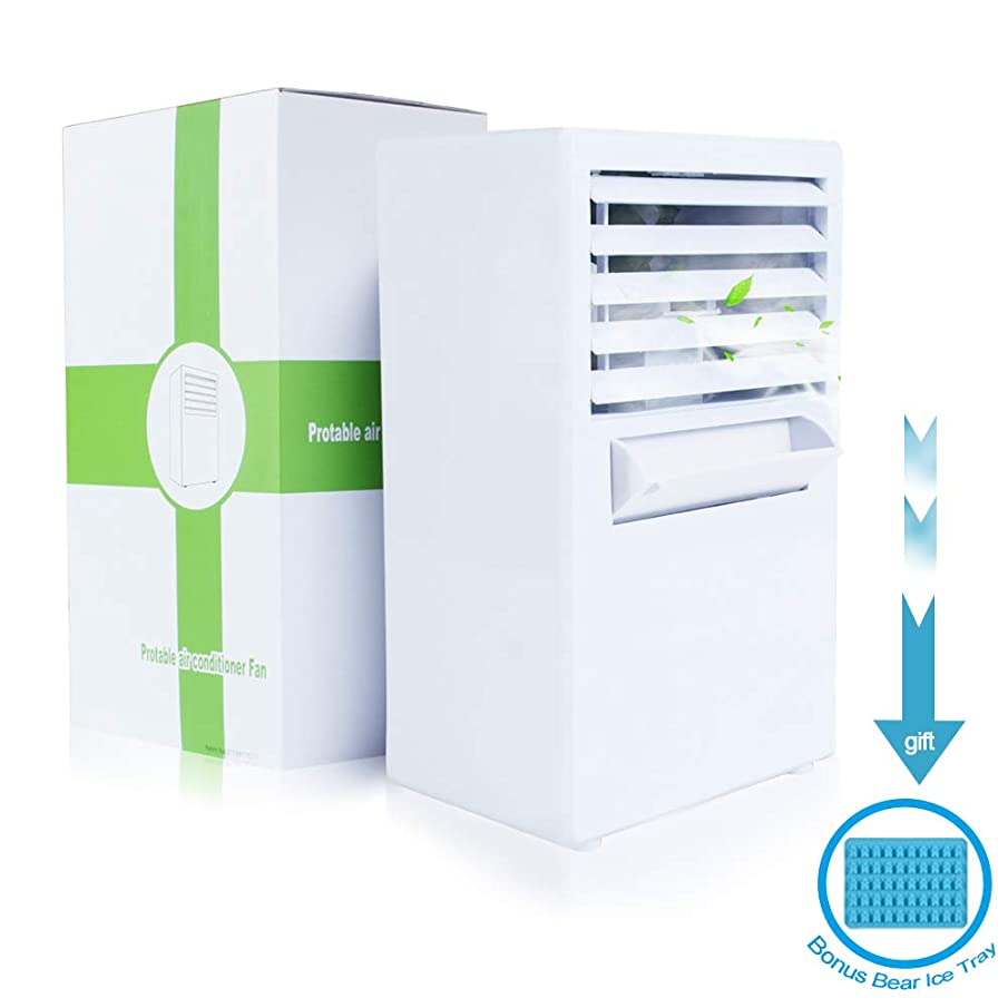 Personal Air Conditioner Fan Portable Air Cooler Fan Noiseless Misting Mini Evaporative Circulator Humidifier Bladeless Quiet for Personal Desktop Table Fan Nightstand Office Dorm(Free Ice Tray)