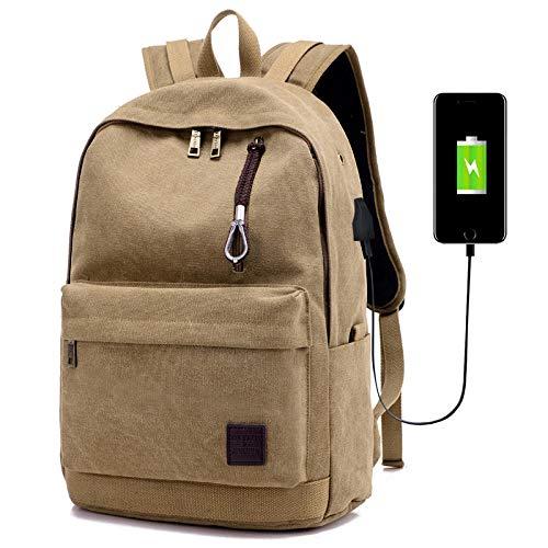 Rugzak casual canvas reis USB hoofdtelefoonaansluiting stekker en bus schooletui waterdicht duurzaam bedrijf, grey (Beige) - 56423169320
