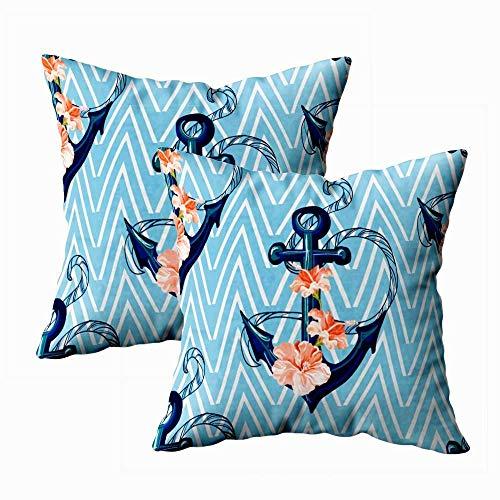 Juego de 2 fundas de almohada para exteriores, 45,7 x 45,7 cm, diseño tropical, ancla de fondo hibisco, textura geométrica, decoración del hogar, fundas de almohada con cremallera para sofá