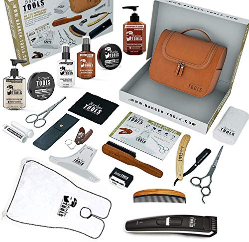 ✮ BARBER TOOLS ✮ Kit/Set/Estuche de arreglo y cuidado de la barba y afeitarse | Cosmético Made in French