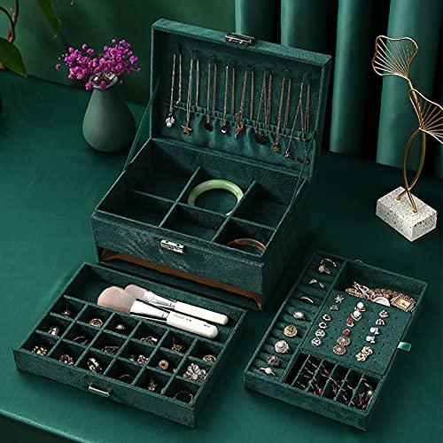 JSSS Joyero apilador de 3 capas, organizador de joyas para pendientes, anillos, pulseras, collares, caja de regalo para niñas y mujeres, color esmeralda