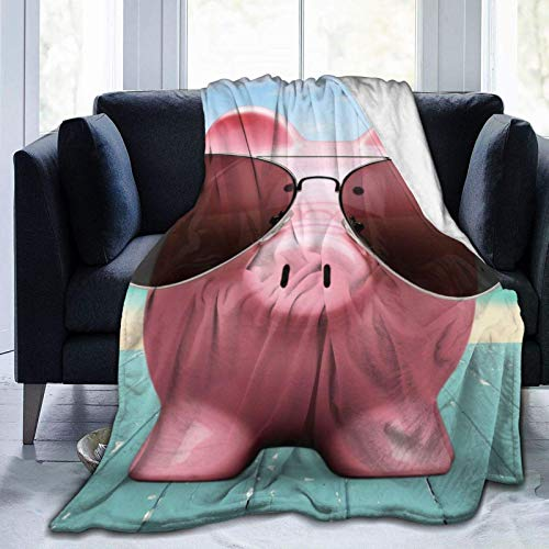 Manta ultrasuave de Cerdo Rosa única y Gafas de Sol, Manta de Cama súper Suave y acogedora para Cama, sofá, sofá, Sala de Estar, 80x60