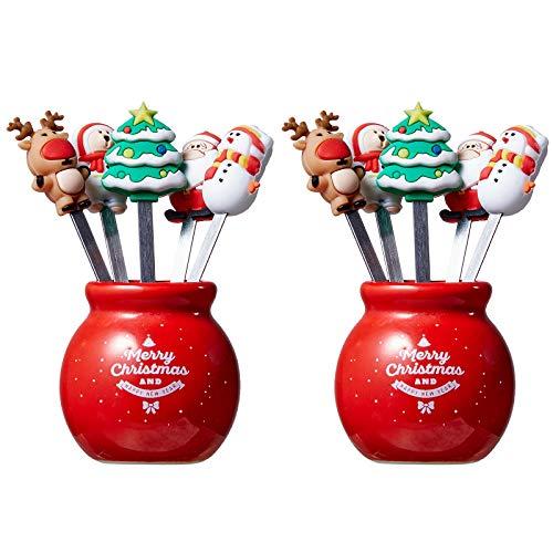 10 x Weihnachtsgabeln mit 2 roten Gläserhaltern, Weihnachtsmann, Schneemann, Weihnachtsbaum, Edelstahl, Salsa-Gabel, Zucker, lustig, Kuchen, Brot, Baby, Kinder, Geschirr, Dessert, Obstgabel