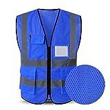 Hycoprot Chaleco de seguridad Reflectante Alta visibilidad Ropa de trabajo Gerente ejecutivo Chaqueta de chaleco Cremallera Brace Seguridad Teléfono móvil Titular de ID de bolsillo(M, Azul)