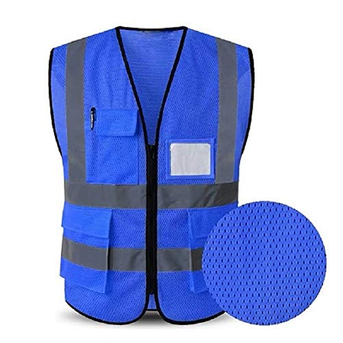 HYCOPROT Sicherheitswesten Warnweste Hohe Sichtbarkeit Reflektierendes Mesh Weste Executive Manager Workwear Jacke Zip 2 Band Brace Sicherheit Handytasche Ausweishalter (XXX-Large, Blau)