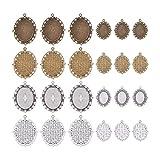 PandaHall Elite - Set de colgantes de aleación con cabujón de vidrio para joyas artesanales, disco redondo, ovalado y cuadrado, colores variados