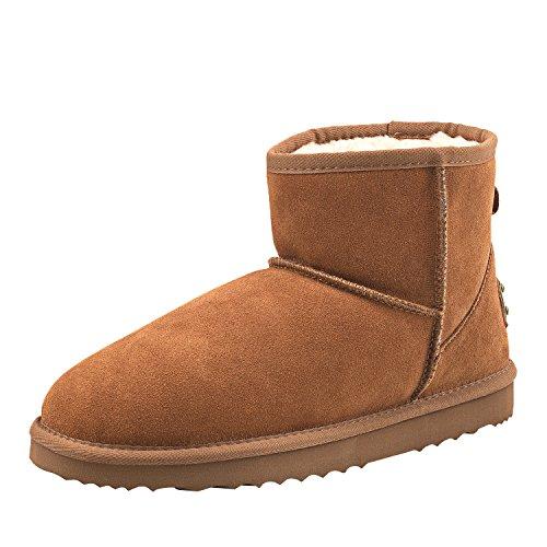 Shenduo Zapatos Invierno - Botas de Nieve de Piel Impermeable Antideslizante para Hombre D5645 Maroon 40