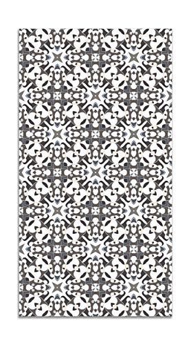 Panorama Alfombra Vinílica Azulejo Hidráulico Tipo Oriental Gris 100x140 cm - Alfombra Cocina Vinilo - Alfombra Salón Antideslizante e Ignífuga - Alfombras Grandes - Alfombras PVC
