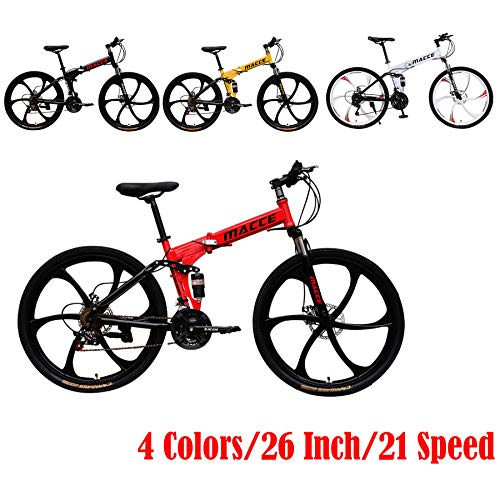 26 Inch Adult Mountain Bike Folding Bikes Carbon Mountain Trail Bike High Carbon Steel Full Suspension Frame 21 Speed Gears Dual Disc Brakes Mountain Bicycle (Red)
