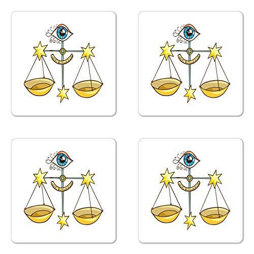 Zodiac Libra Coaster Set of Four, Zodiac Themed Illustration of Doodle Scale and All Seeing Eye, Square Rubber Coasters for Drinks, Yellow Pale Blue and Blue