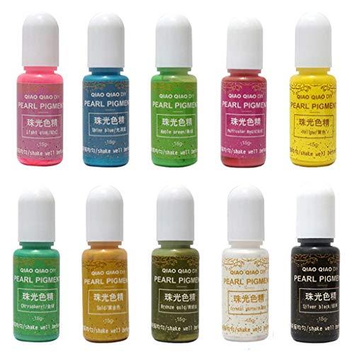 Gergxi Lot de 10 pigments en résine époxy pour fabrication de bijoux faits à la main