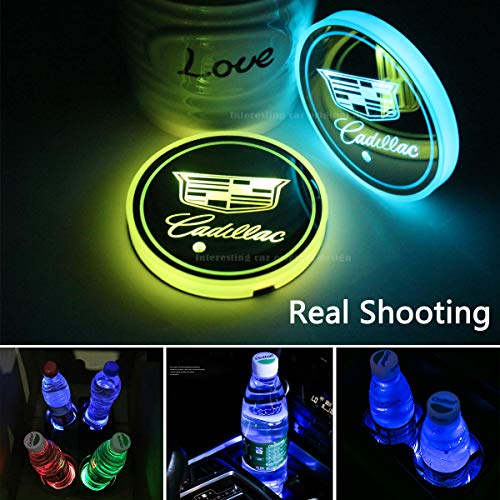 2pcs LED Car Cup Holder Lights for Cadillac, 7 Colors Changing USB Charging Mat Luminescent Cup Pad, LED Interior Atmosphere Lamp