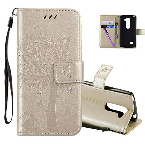 COTDINFOR LG Leon H340N C40 Hülle für Mädchen Elegant Retro Premium PU Lederhülle Handy Tasche mit Magnet Standfunktion Schutz Etui für LG Leon 4G LTE H340N C40 C50 Gold Wishing Tree with Diamond KT.