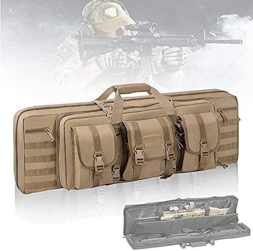 HSBZLH Bolsa Pistola, Bolsa Caza multifunción con Borde llenado Espuma, Paquete de Equipo táctico de Gran Capacidad, Bolsa de Doble para Disparar el Transporte de Arma de Fuego, Caqui