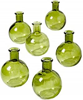 Serene Spaces Living 4 inches Green Ball Bud Vase, Set of 6