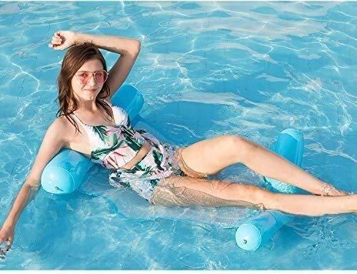 AULLY PARK Colchoneta hinchable 4 en 1, colchón de aire para piscina, colchón de aire plegable para adultos y niños, color azul