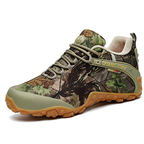 Homme Camo Outdoor Lace-up Low-Top Hiking Travelling Trekking Shoes Sports Waterproof Climbing Casual Sneakers(41 EU, Sandy Camo)
