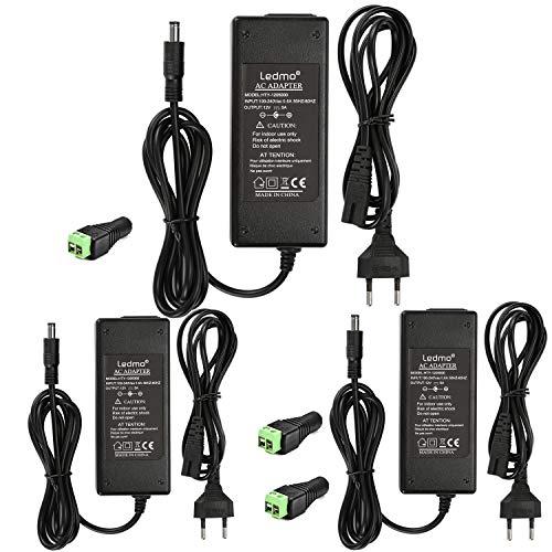 LEDMO 3 PiezasTransformador 12V 5A Adaptador 12V de Corriente 60W Voltaje de Entrada CA 100-240V a CC 12V, Utilizado para Tira de luz led, cinta LED etc.