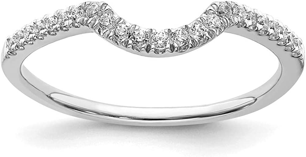 14k White Gold Ranking TOP6 Special sale item Diamond Contoured Band Ring Size 7 Wedding