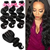 3 Bundles with Closure Brazilian Virgin Hair Brazilian Body Wave 8A 100% Unprocessed Human Hair bundles With Lace Closure Natural Black Color by YAVVE (12' 14' 16'+10'closure, Three Part)