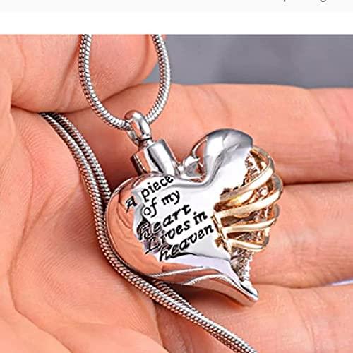 MITIAN A Piece of My Heart Lives In Heaven Memorial N Heart Cremación Collar, Hombres/Mujeres Colgante Joyería De Recuerdo