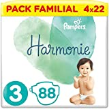 Pampers Couches Harmonie Taille 3 (6-10kg) 0% de compromis, 100% d'absorption, Ingrédients d'origine végétale, Hypoallergéniques, 88 Couches (Lot économique)