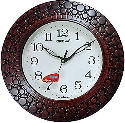 Oreva Plastic Wooden Look Designer Wall Clock (32 x 32 x 4 cm, Brown Red, AQ 5927)