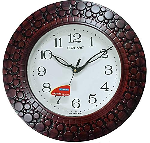 Oreva Plastic Wooden Look Designer Wall Clock (32 x 32 x 4 cm, Brown Red, AQ 5927)