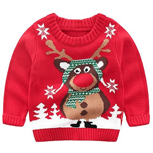G-Kids Kinder Mädchen Jungen Weihnachtspullover Strickjacken Gestrickt Strickpullover Herbst Winter Langarm Sweater Pullis Rot 110