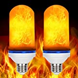 LED Flame Effect Light Bulbs, Loveishere 2 Pack E26 Fire Light Bulbs, Flickering Flame Atmosphere Decorative Lamps for Hotel/Bars/Home Decoration/Restaurants (3 Modes)