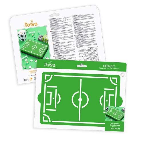 Decora - Plantilla de plástico con diseño de Campo de fútbol para Tartas tridimensionales