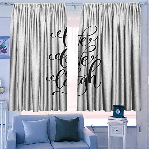 keuken gordijnen donker en thermisch isolerende gordijnen live lach liefde hand getrokken monochroom inspirerende boodschap en hart met gekleurd achtergrond zwart wit