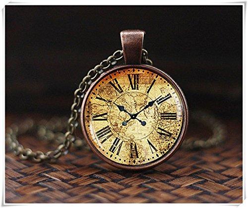 Colgante de reloj de mapa vintage, collar de reloj antiguo, collar de reloj vintage