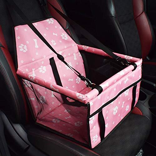 LLYU Sièges auto pour Animaux de Compagnie, siège Auto Rabattable et imperméable avec Ceinture de sécurité et Sac de Rangement pour Chien et Chat (Color : Pink)
