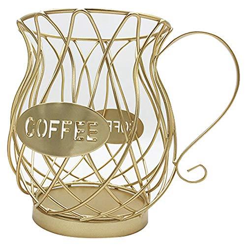 Fransande Soporte para cápsulas de café y organizador de tazas, soporte para cápsulas de café y espresso, cesta de almacenamiento para tazas de café, color dorado