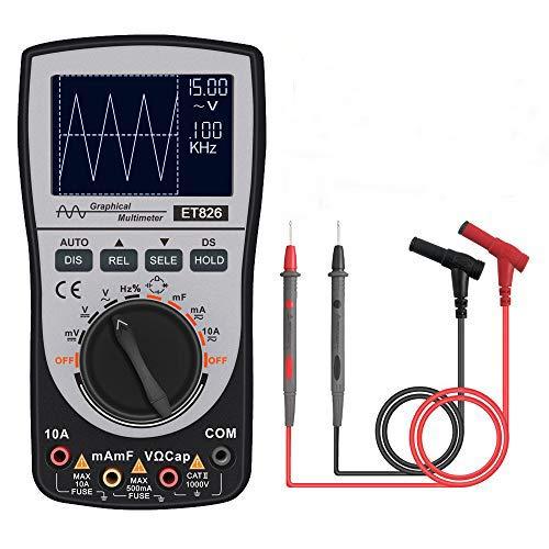 Multímetro osciloscopio digital inteligente,2 en 1 osciloscopio multimetro portatil medidor de voltaje de corriente/resistencia/diodos con gráfico de barras analógico