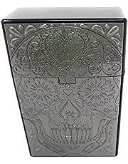 Caja para cigarrillos, color antracita, diseño de calavera