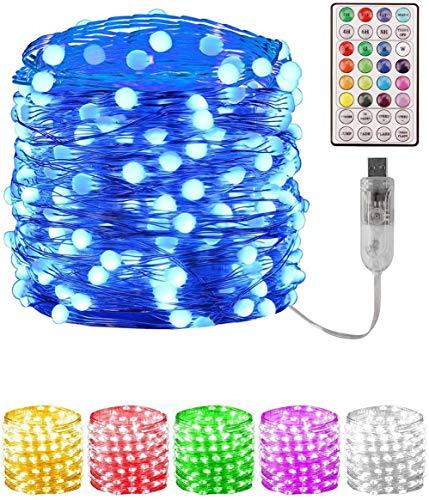 LED Lichterkette USB Lichterkette mit Batterie Fernbedienung, Wasserdicht Bunte Lichtschlauch für Außen Innen Zimmer Weihnachten Party Garten Balkon Hochzeit Beleuchtung Deko, 12M / 33FT 100 LED
