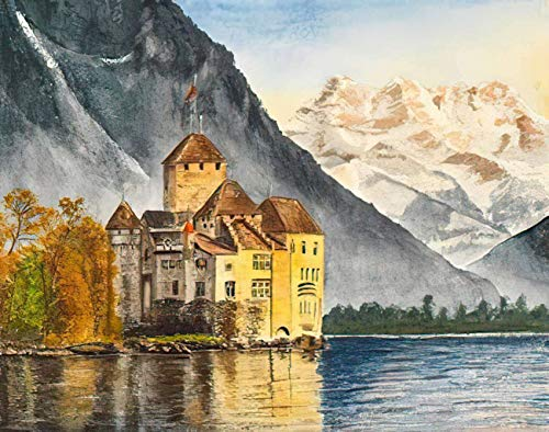 MQPPE Landscape 5D DIY Diamond Painting Kits, Watercolor Castle Lake Mountains Alpine Alps Architecture Autumn Full Drill Painting Arts Set Craft Canvas for Home Wall Decor Adults Kids, 12' x 16'