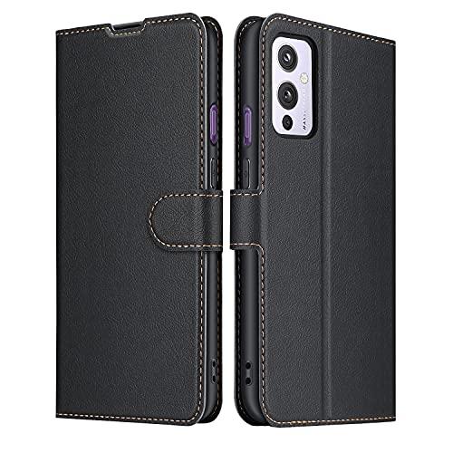 ELESNOW Hülle für OnePlus 9, Premium Leder Klappbar Schutzhülle Tasche Handyhülle mit [ Magnetisch, Kartenfach, Standfunktion ] für OnePlus 9 (Schwarz)