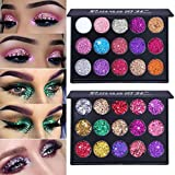 Kisshine Glitter Eyeshadow Palette 15 Color Party Diamond Shimmer Eyeshadows Colorful Long Lasting Waterproof Highly Pigmented Eye Makeup Gift For Women and Girls Pack of 1 (Multicolor 02#)