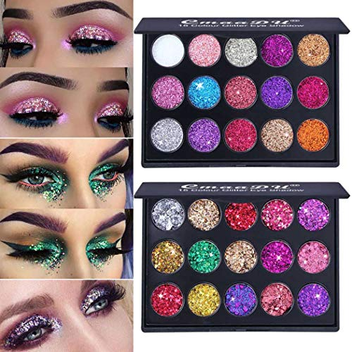 Kisshine Glitter Eyeshadow Palette 15 Color Party Diamond Shimmer Eyeshadows Colorful Long Lasting Waterproof Highly Pigmented Eye Makeup Gift For Women and Girls Pack of 1 (Multicolor 01#)