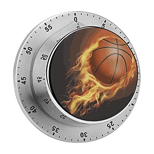 Digitaler Küchenwecker, magnetisch, Flaming Basketball Arctic Fleece Mechanischer Edelstahl Timer für Schule, Lernen, Projekte und Küchenaufgaben