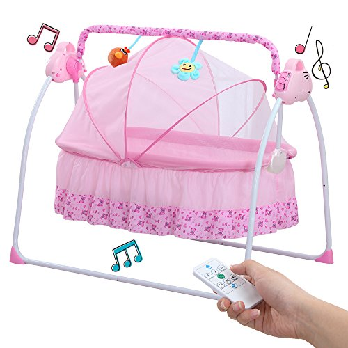 WSD&Co Baby Cradle Swing, Big Space Electric Automatic Baby Swings for Infants Indoor&Outdoor Outside with Dolls, Music. Boys or Girls bassinets Gift (Pink)