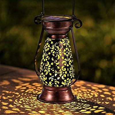 LeiDrail Solar Lantern Outdoor Garden Hanging Lanterns Retro Bronze Metal Decorative Light Warm White LED Waterproof Landscape Lighting for Table Pathway Yard Porch Party - 1 Pack
