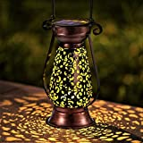 LeiDrail Solar Lantern Outdoor Garden Hanging Lanterns Retro Bronze Metal Decorative Light Warm White LED Waterproof Landscape Lighting for Table Pathway Yard Porch Party - 1 Pack