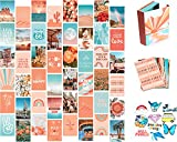 Artivo Peach Teal Wall Collage Kit for Aesthetic Pictures, 50 Set 4x6 inch, VSCO Girls Bedroom...