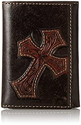 Nocona Men's Diagnol Cross Embose Trifold, Brown, One Size